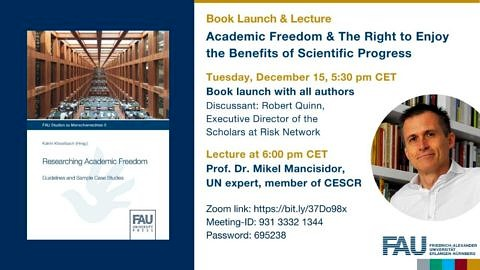 "Towards entry """"Academic Freedom & The Right to Enjoy the Benefits of Scientific Progress"" – Book Launch & Lecture"""
